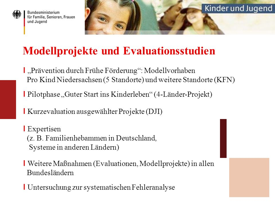 Modellprojekte und Evaluationsstudien