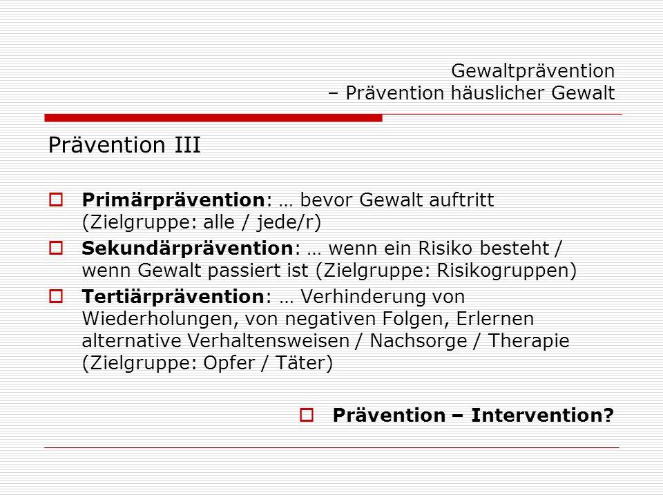 Gewaltprävention – Prävention häuslicher Gewalt