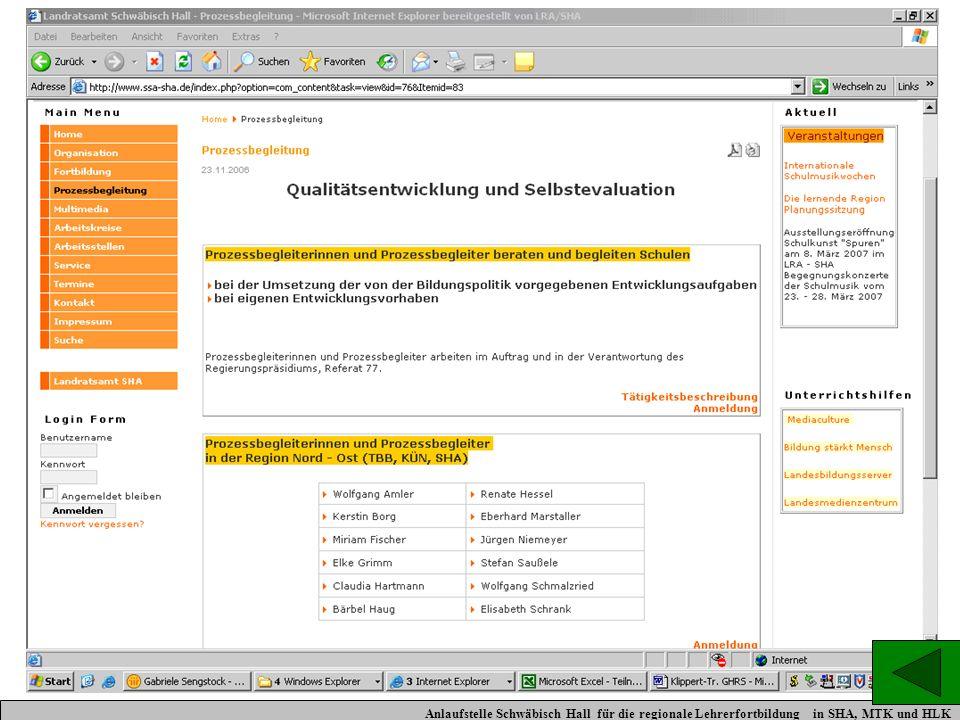 Prozessbegleiter Anlaufstelle Schwäbisch Hall für die regionale Lehrerfortbildung in SHA, MTK und HLK.