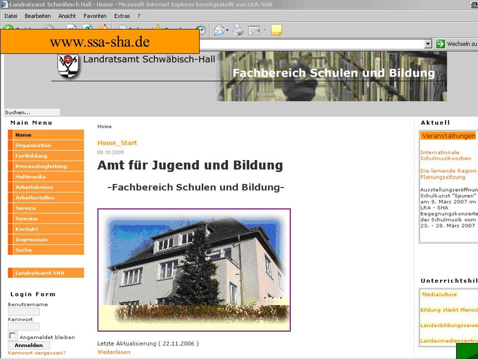 Zentrale Plattform www.ssa-sha.de