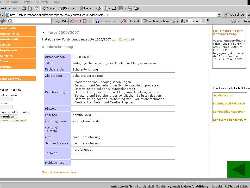 Hier ein Beispiel zur Beschreibung und am Ende durch Anklicken die Möglichkeit, sich direkt online zu dieser Veranstaltung anzumelden.