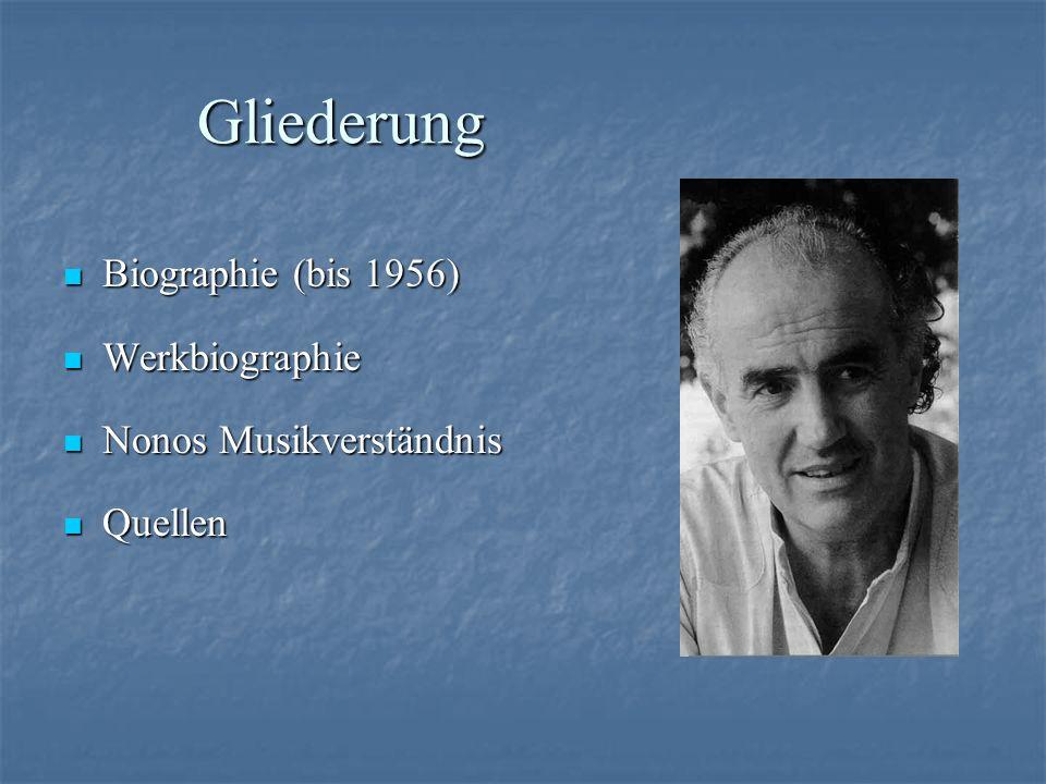 Gliederung Biographie (bis 1956) Werkbiographie Nonos Musikverständnis
