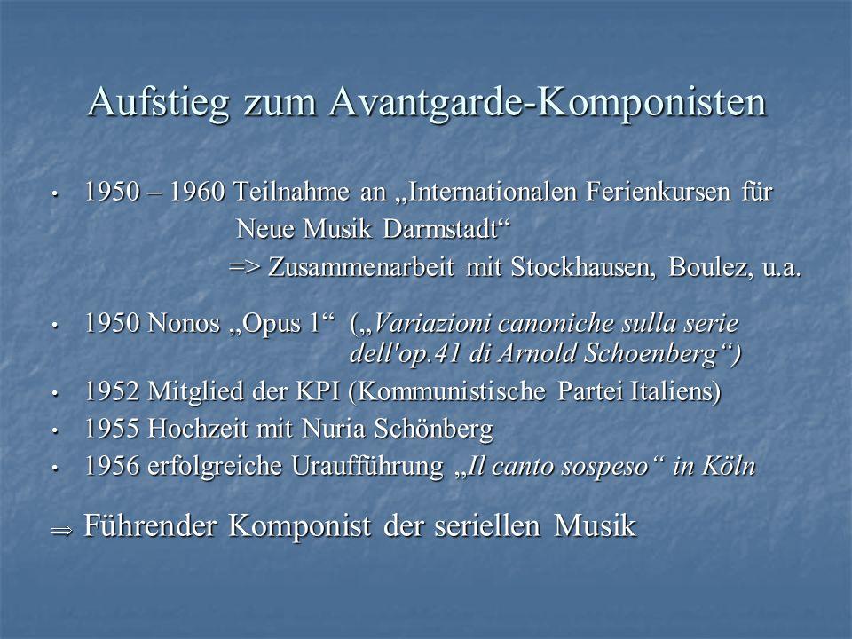 Aufstieg zum Avantgarde-Komponisten