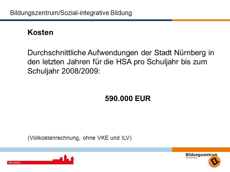 Kosten Durchschnittliche Aufwendungen der Stadt Nürnberg in den letzten Jahren für die HSA pro Schuljahr bis zum Schuljahr 2008/2009: