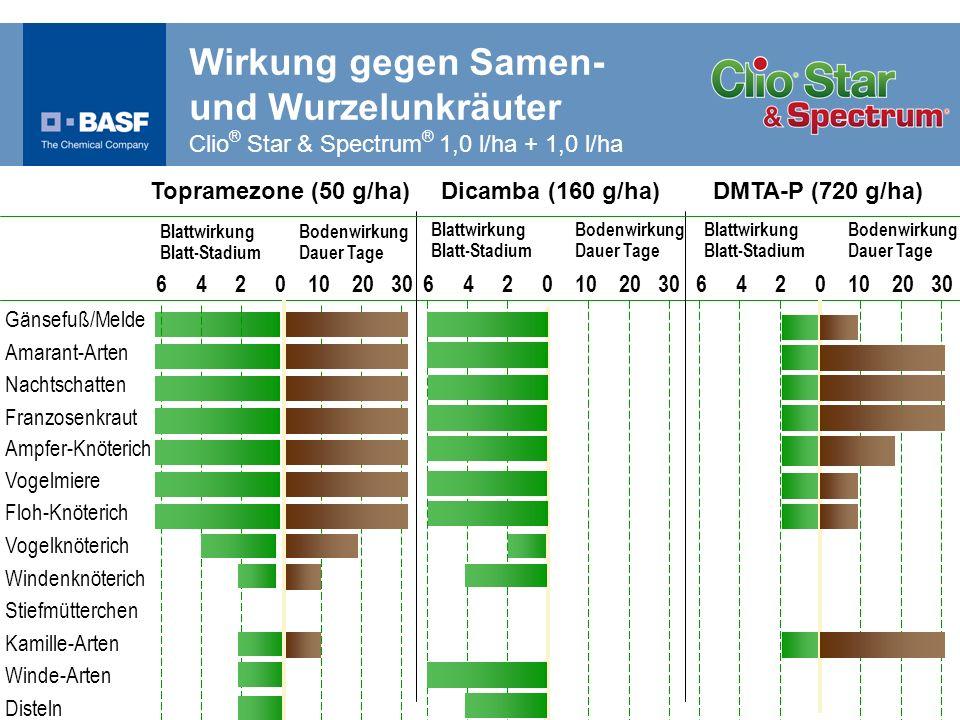 Wirkung gegen Samen- und Wurzelunkräuter Clio® Star & Spectrum® 1,0 l/ha + 1,0 l/ha