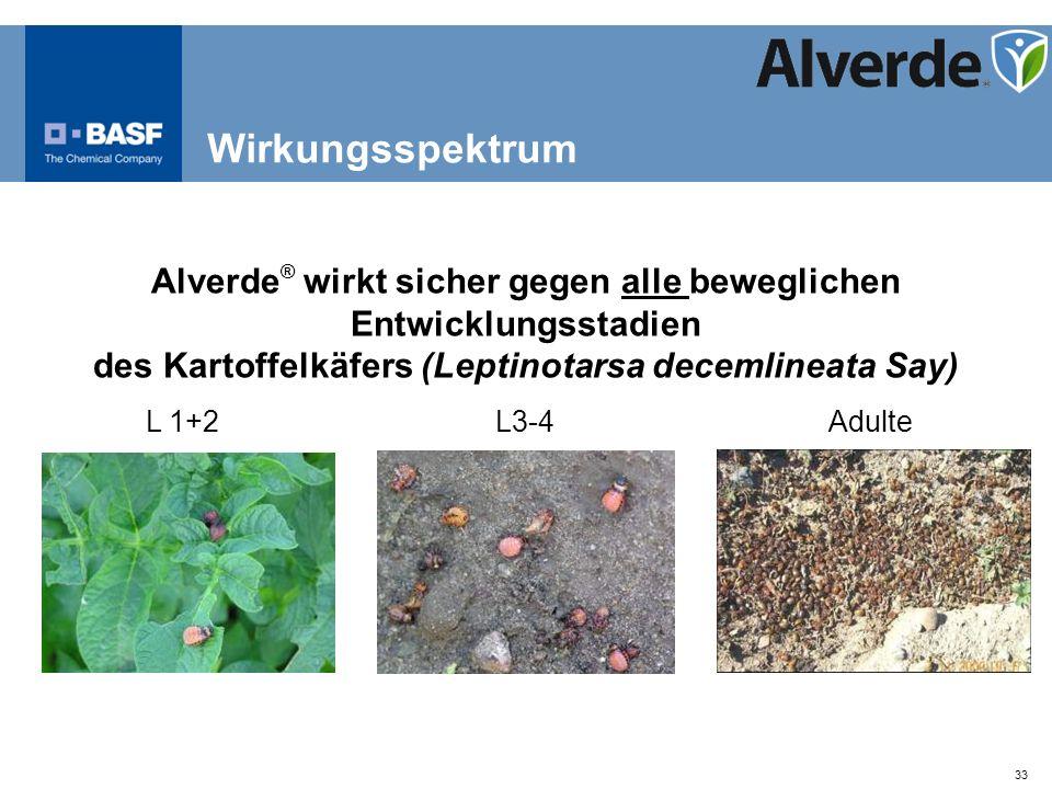 Wirkungsspektrum Alverde® wirkt sicher gegen alle beweglichen Entwicklungsstadien. des Kartoffelkäfers (Leptinotarsa decemlineata Say)