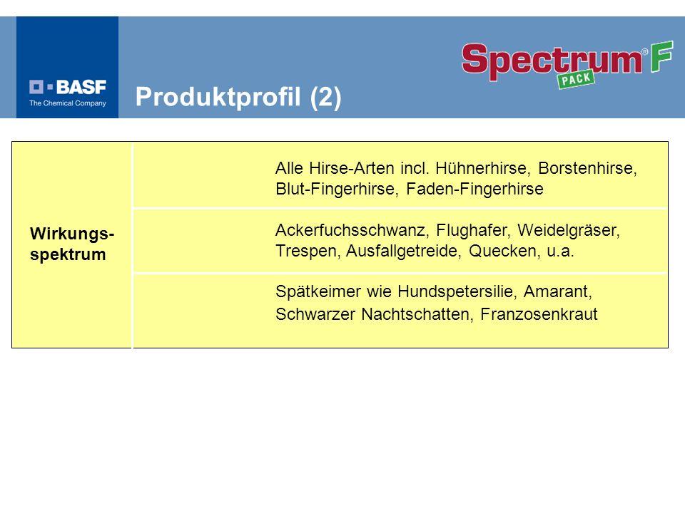 Produktprofil (2) Wirkungs- spektrum. Alle Hirse-Arten incl. Hühnerhirse, Borstenhirse, Blut-Fingerhirse, Faden-Fingerhirse.