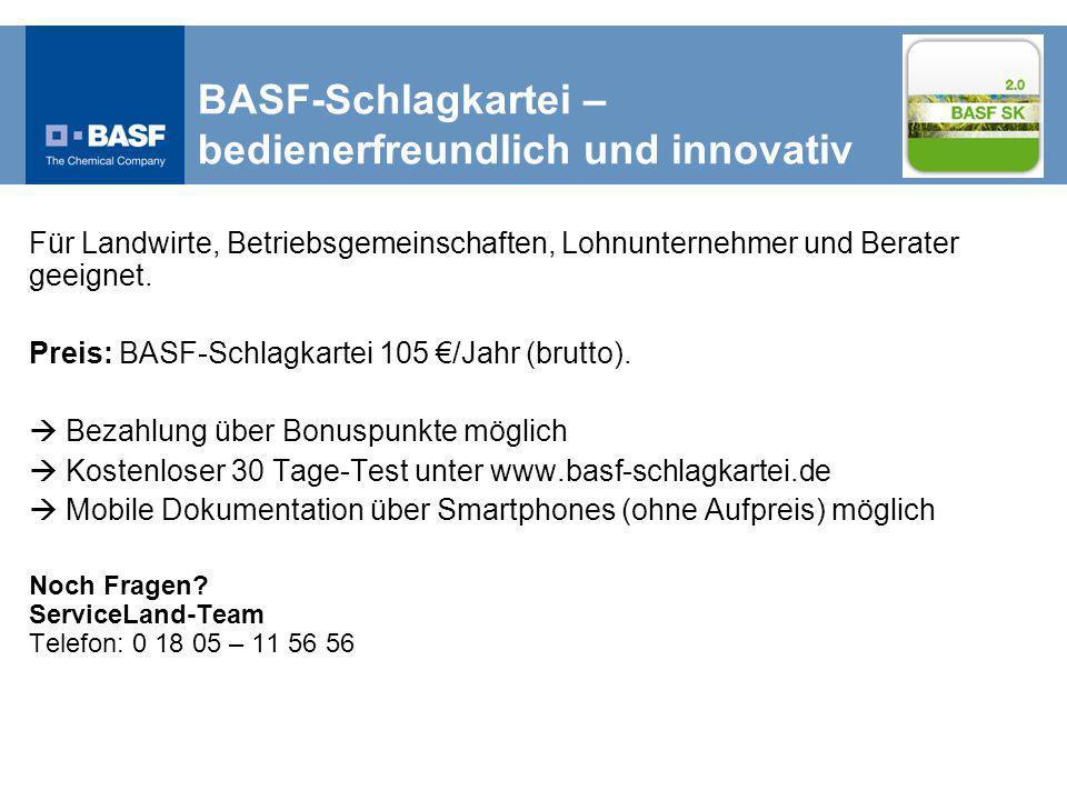 BASF-Schlagkartei – bedienerfreundlich und innovativ