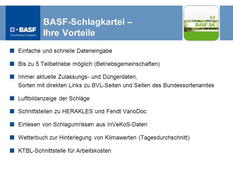 BASF-Schlagkartei – Ihre Vorteile