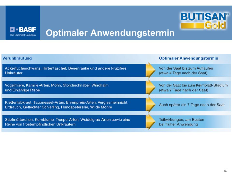 Optimaler Anwendungstermin