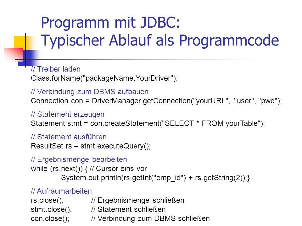 Programm mit JDBC: Typischer Ablauf als Programmcode