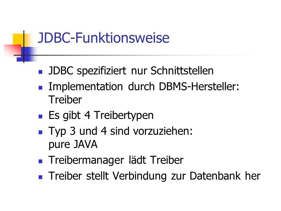 JDBC-Funktionsweise JDBC spezifiziert nur Schnittstellen