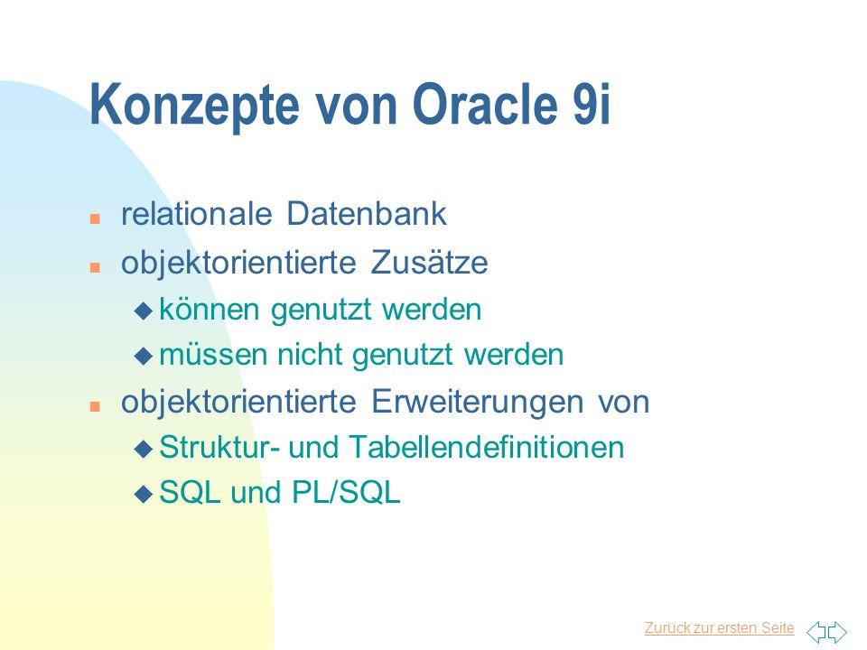 Konzepte von Oracle 9i relationale Datenbank objektorientierte Zusätze