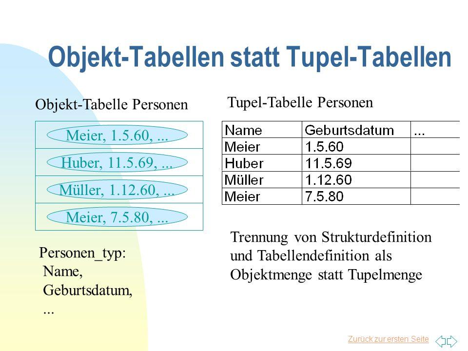 Objekt-Tabellen statt Tupel-Tabellen