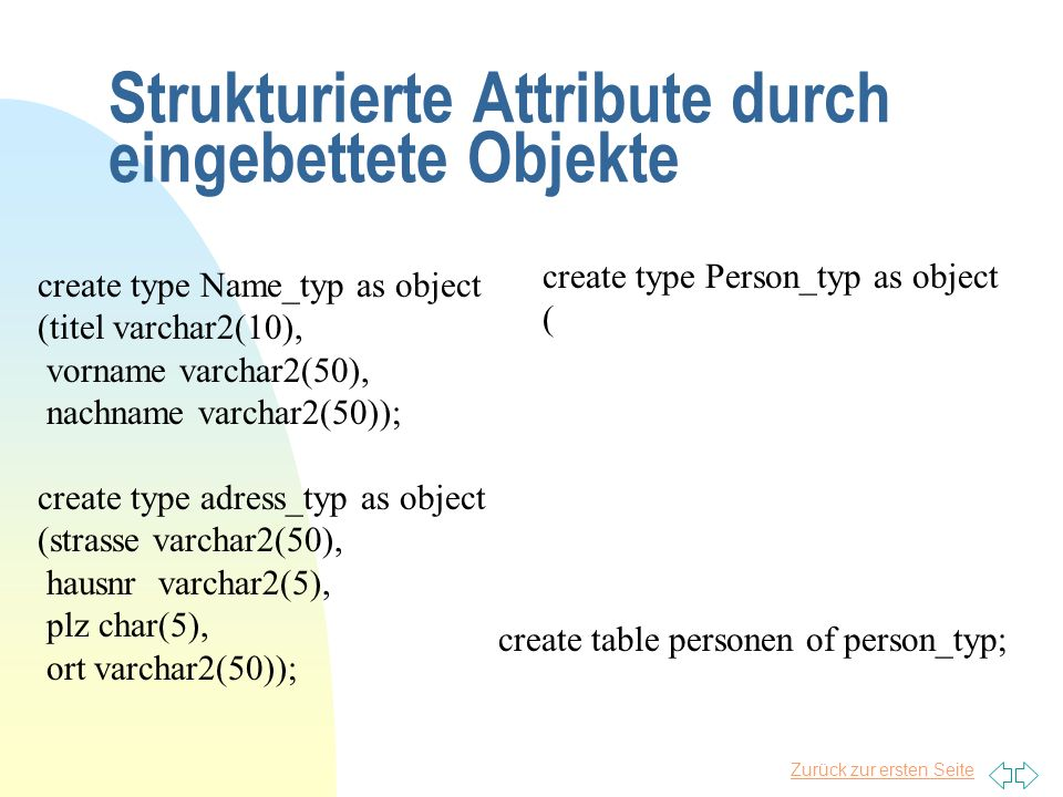 Strukturierte Attribute durch eingebettete Objekte