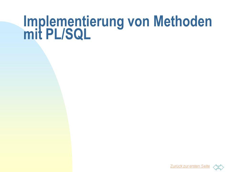 Implementierung von Methoden mit PL/SQL