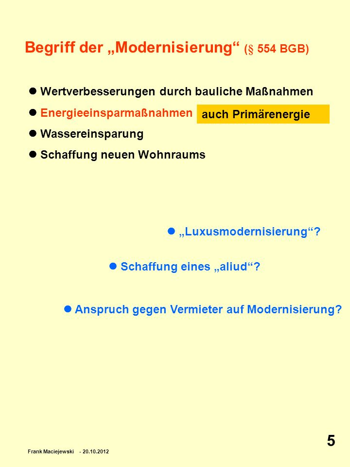"""Begriff der """"Modernisierung (§ 554 BGB)"""