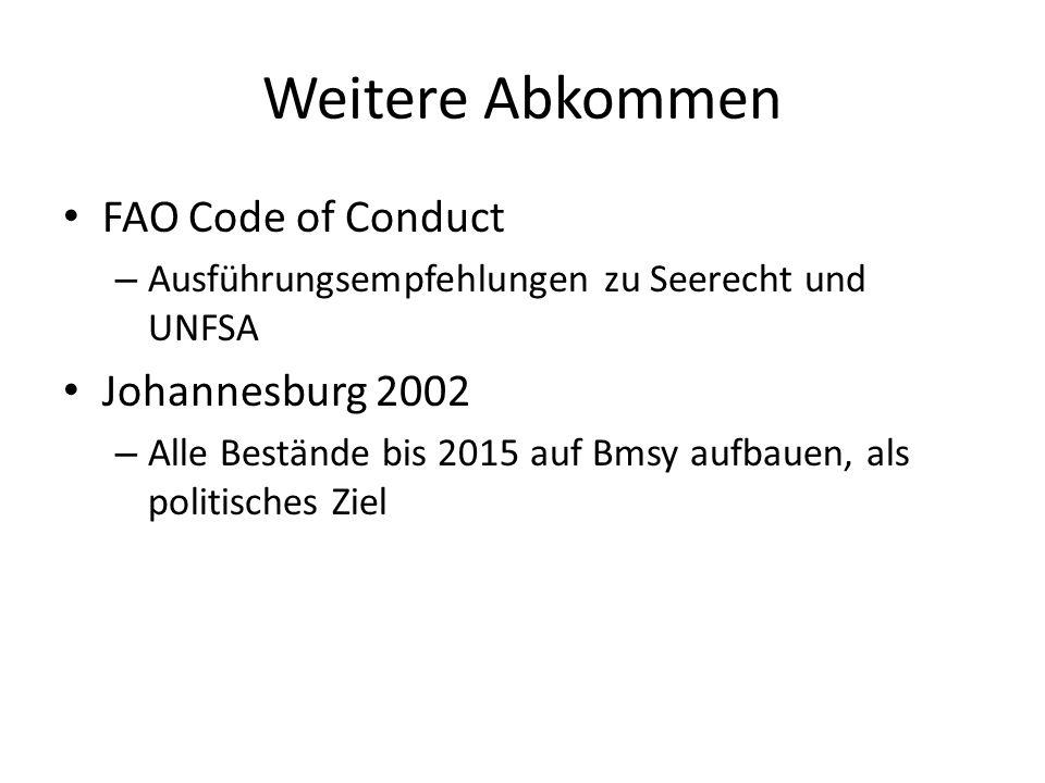 Weitere Abkommen FAO Code of Conduct Johannesburg 2002