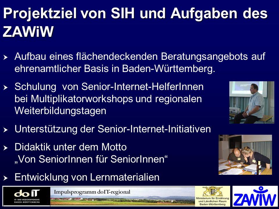 Projektziel von SIH und Aufgaben des ZAWiW