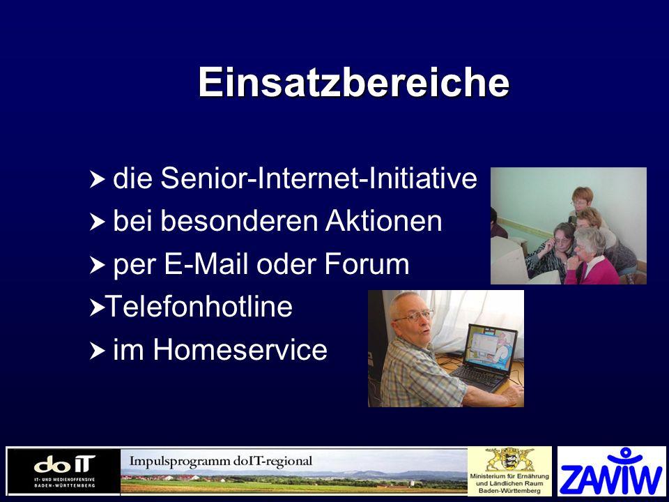 Einsatzbereiche die Senior-Internet-Initiative bei besonderen Aktionen