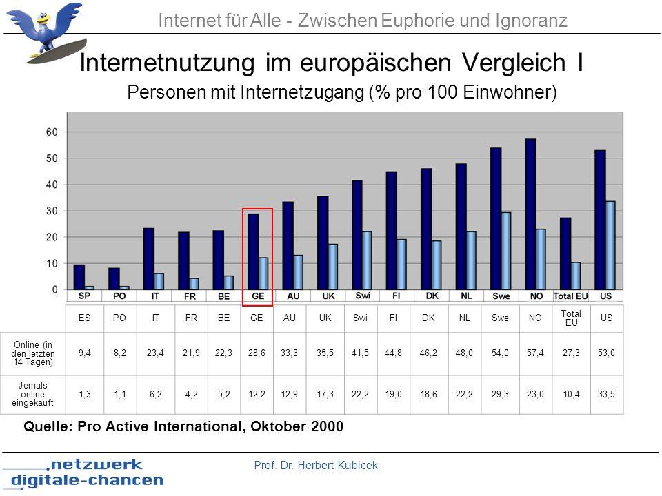 Internetnutzung im europäischen Vergleich I