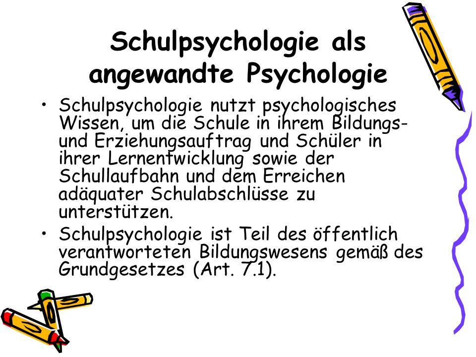 Schulpsychologie als angewandte Psychologie