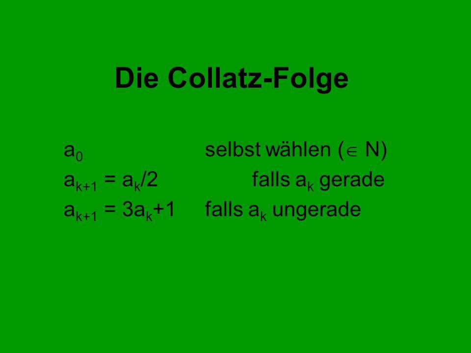 Die Collatz-Folge a0 selbst wählen ( N) ak+1 = ak/2 falls ak gerade