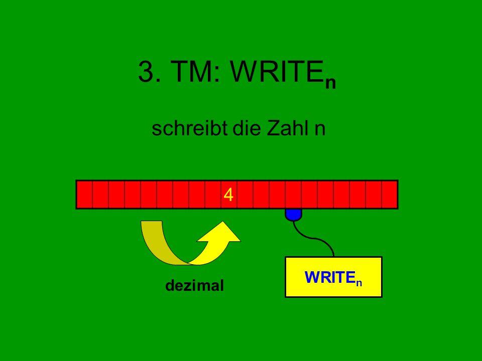 3. TM: WRITEn schreibt die Zahl n 4 WRITEn dezimal
