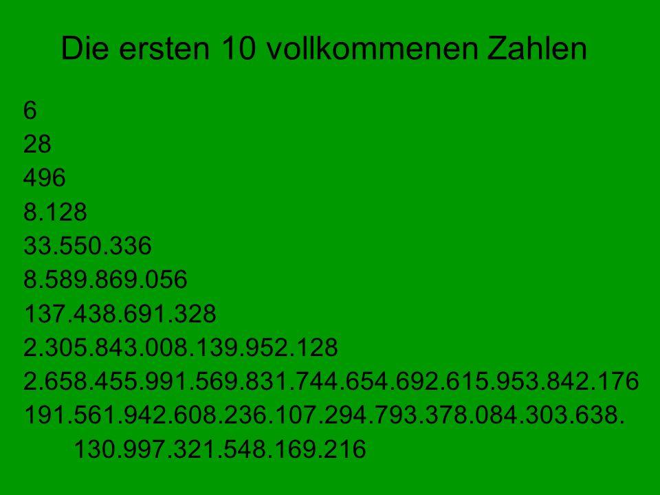 Die ersten 10 vollkommenen Zahlen