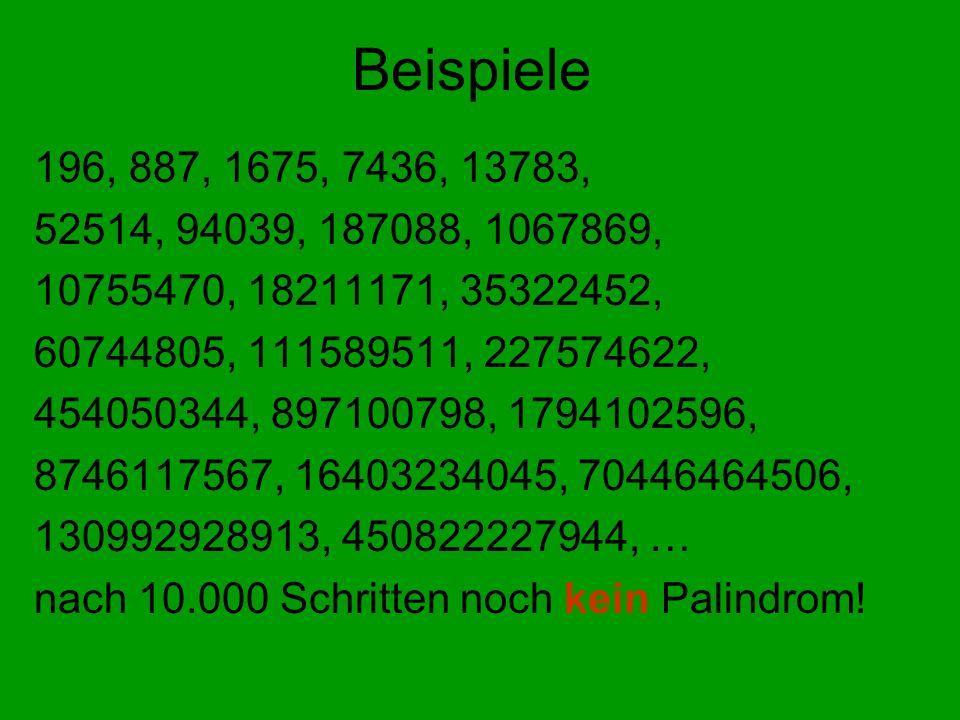 Beispiele 196, 887, 1675, 7436, 13783, 52514, 94039, 187088, 1067869, 10755470, 18211171, 35322452,