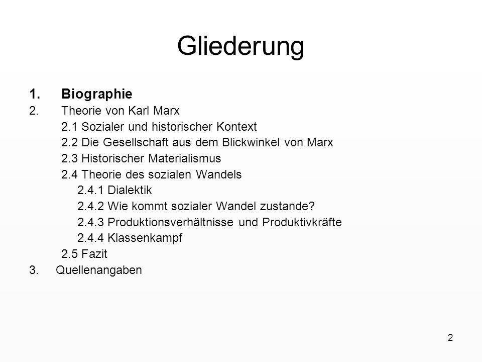 Gliederung Biographie Theorie von Karl Marx