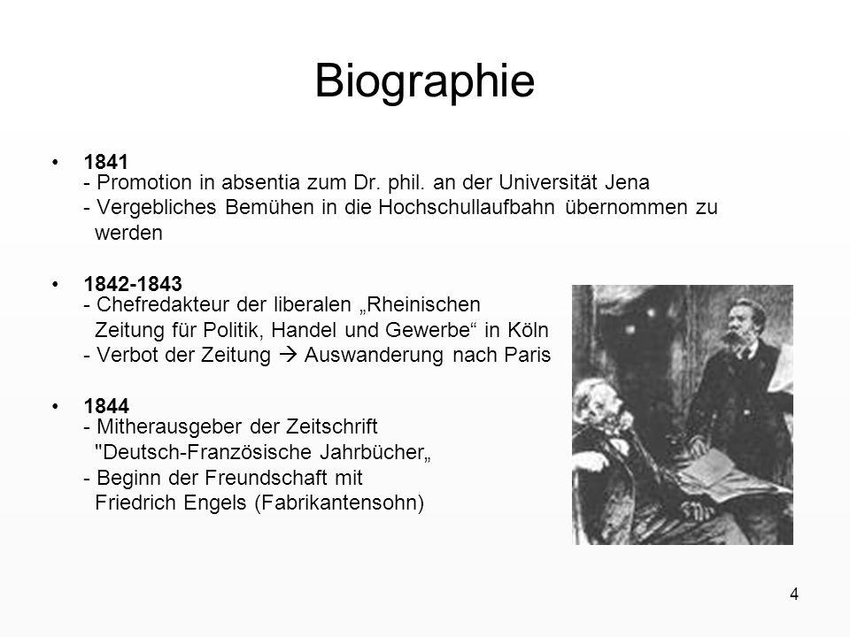 Biographie 1841 - Promotion in absentia zum Dr. phil. an der Universität Jena. - Vergebliches Bemühen in die Hochschullaufbahn übernommen zu.