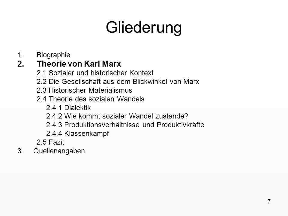 Gliederung Theorie von Karl Marx Biographie