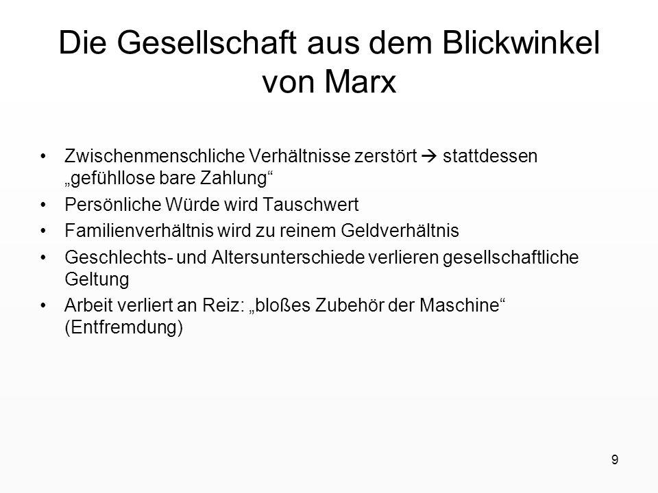 Die Gesellschaft aus dem Blickwinkel von Marx