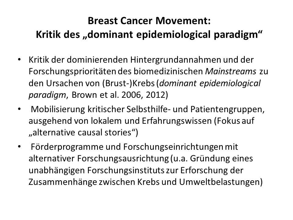 "Breast Cancer Movement: Kritik des ""dominant epidemiological paradigm"