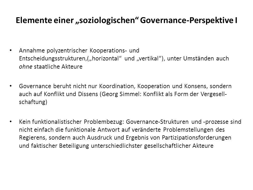 """Elemente einer """"soziologischen Governance-Perspektive I"""