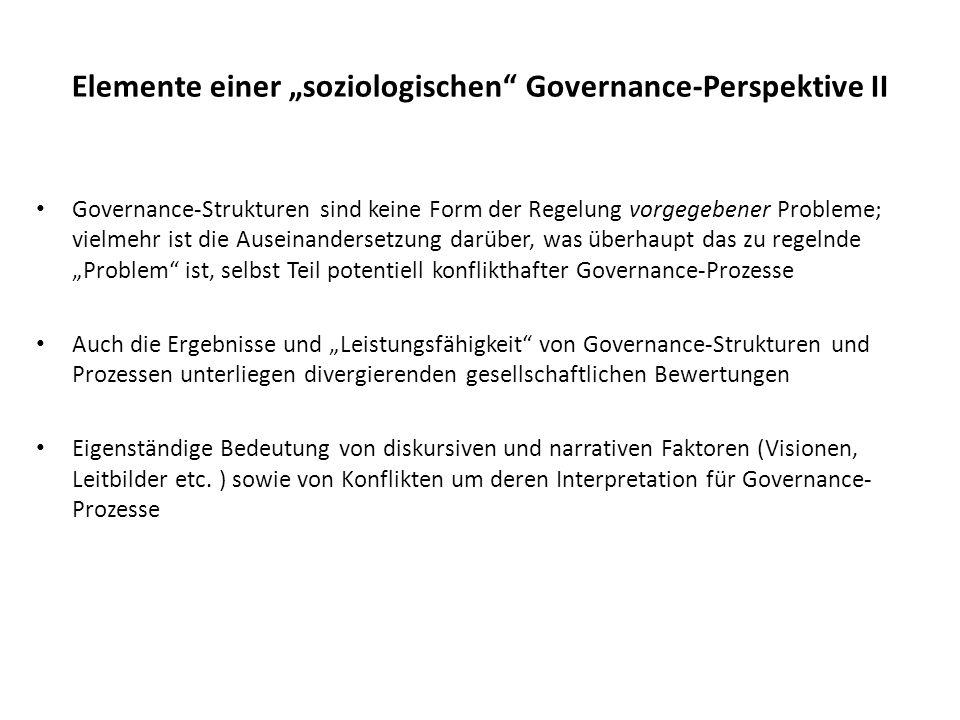 """Elemente einer """"soziologischen Governance-Perspektive II"""