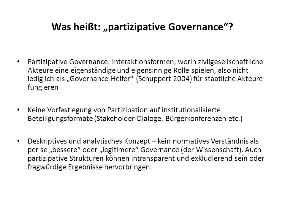 "Was heißt: ""partizipative Governance"