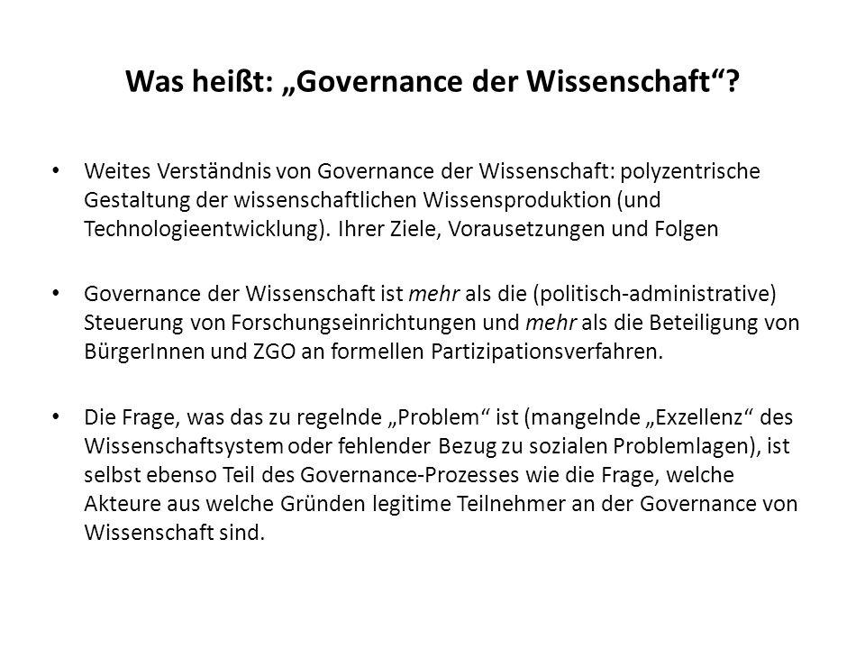 """Was heißt: """"Governance der Wissenschaft"""