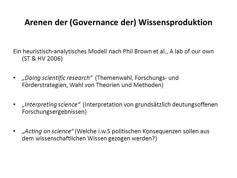 Arenen der (Governance der) Wissensproduktion