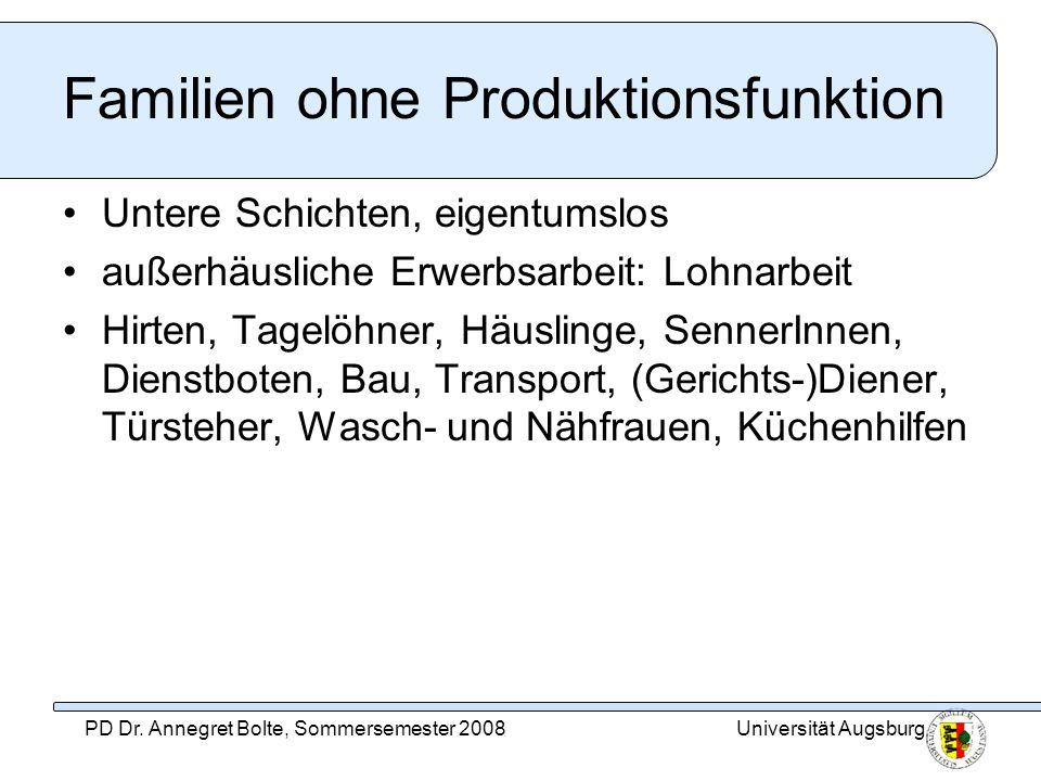 Familien ohne Produktionsfunktion