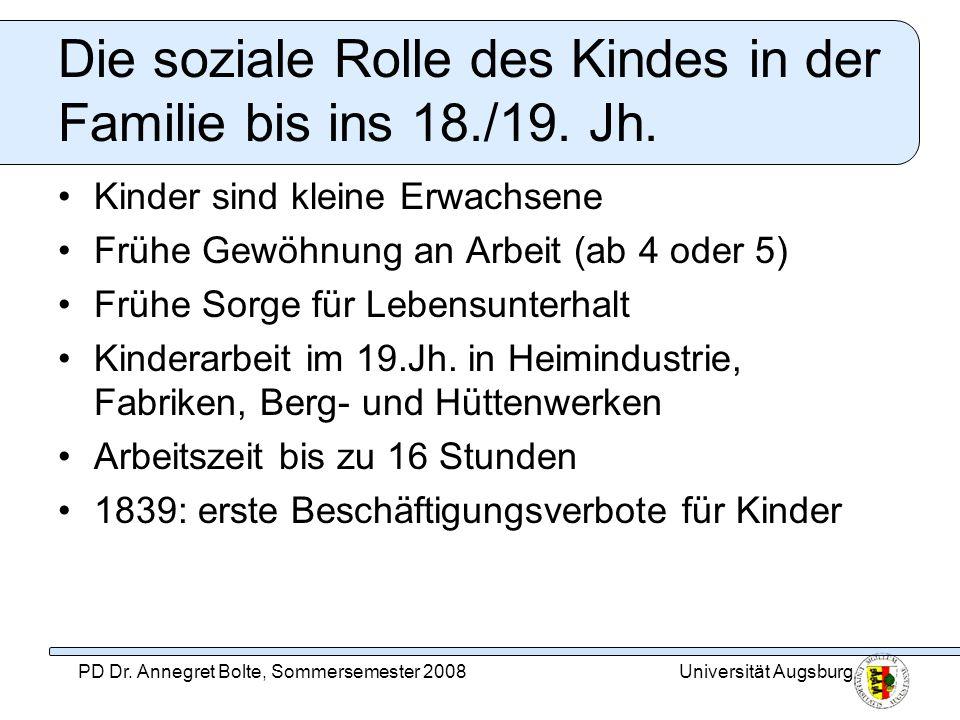 Die soziale Rolle des Kindes in der Familie bis ins 18./19. Jh.