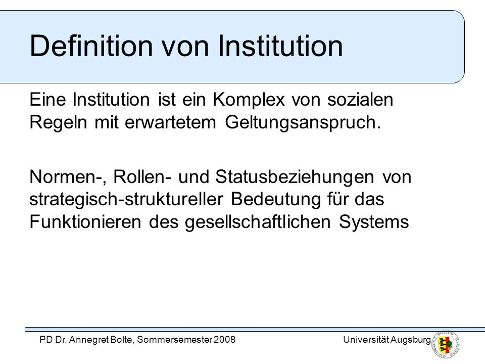 Definition von Institution