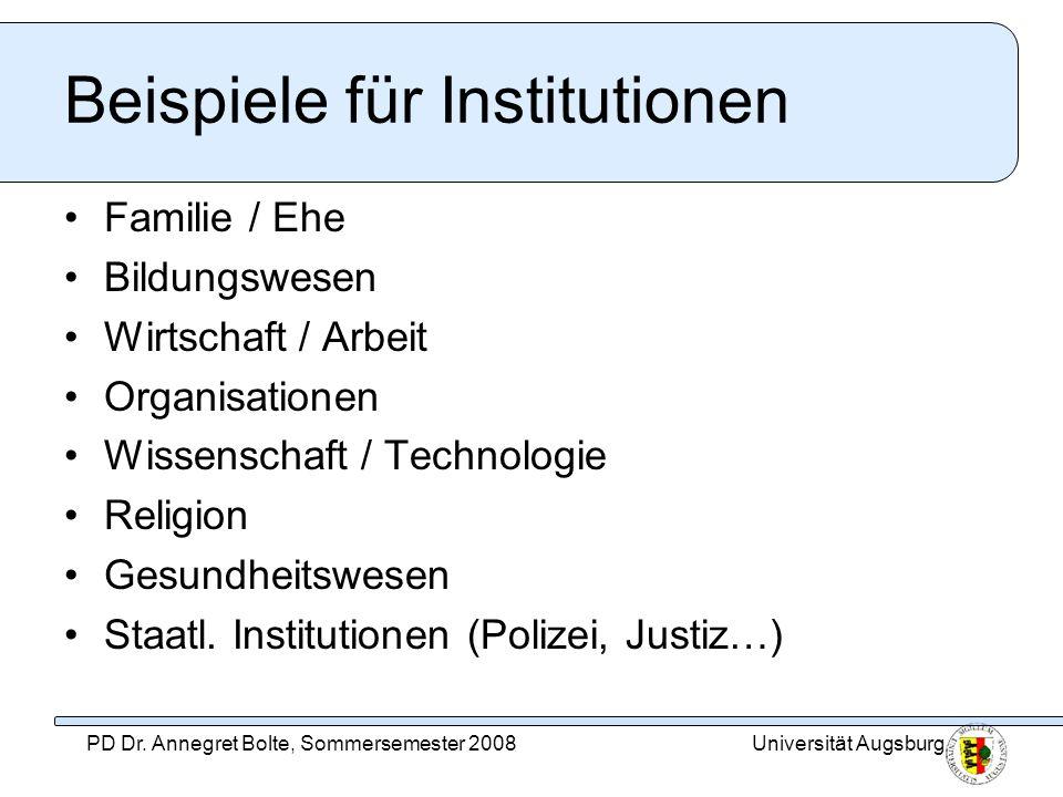 Beispiele für Institutionen