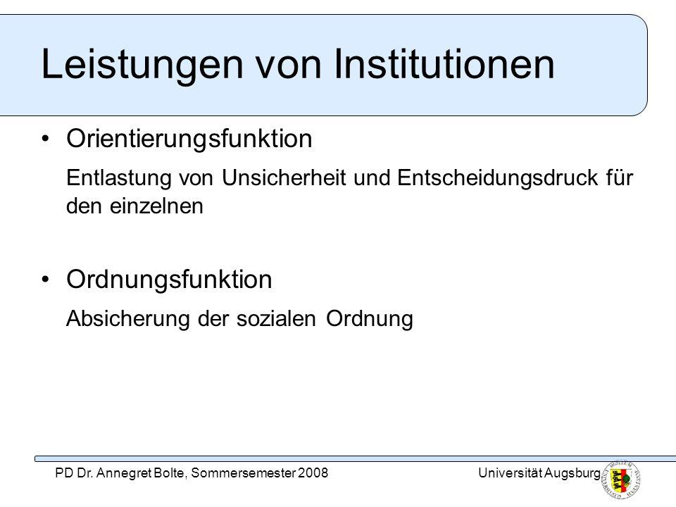 Leistungen von Institutionen