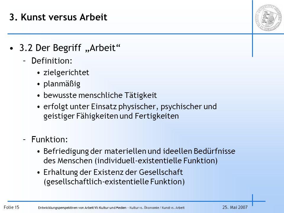 """3. Kunst versus Arbeit 3.2 Der Begriff """"Arbeit Definition: Funktion:"""