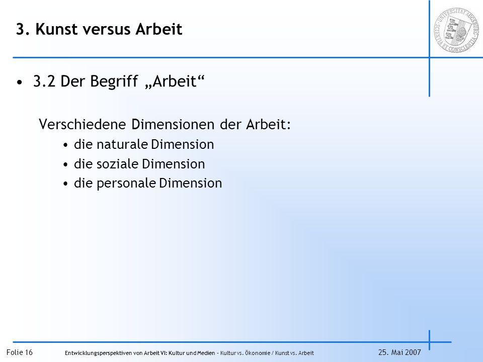 """3. Kunst versus Arbeit 3.2 Der Begriff """"Arbeit"""
