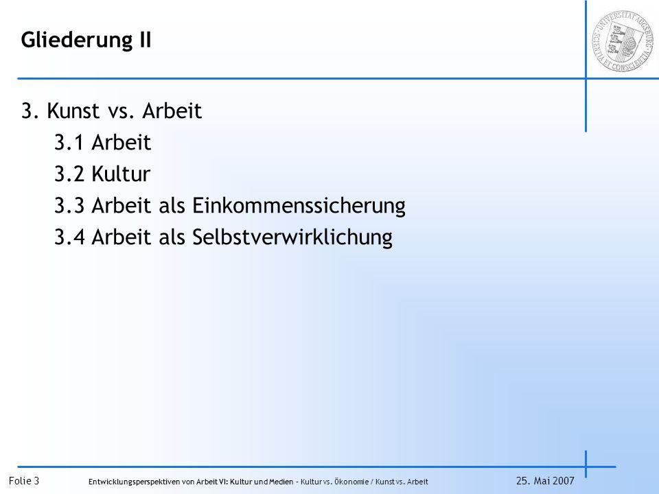 Gliederung II 3. Kunst vs. Arbeit. 3.1 Arbeit.