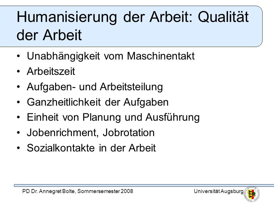 Humanisierung der Arbeit: Qualität der Arbeit
