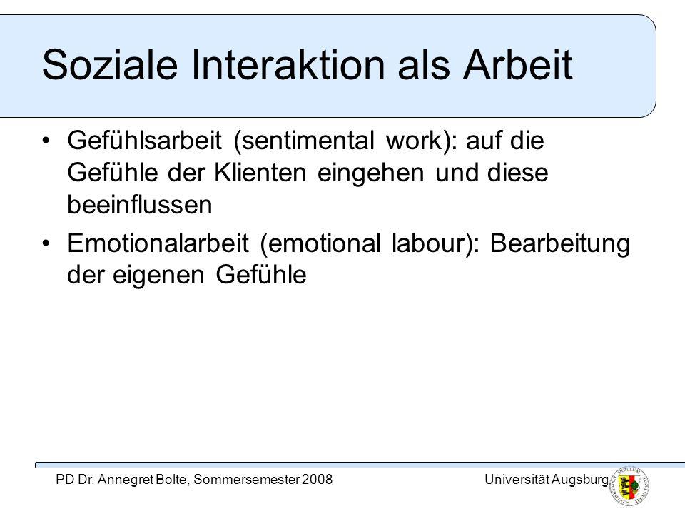 Soziale Interaktion als Arbeit